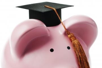 Piggy Bank Graduate on White Background